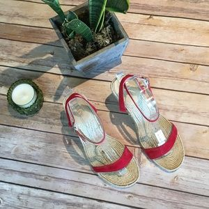 J.Crew Wedged Espadrille in red